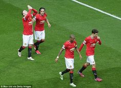 A relieved Manchester United celebrate Wayne Rooney's opener against Sunderland at Old Trafford Manchester United 2014, Wayne Rooney, Old Trafford, Sunderland, The Unit, Football, Running, Celebrities, Sports