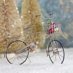 Bicycle with Basket of Ornaments | Tin Bicycle Christmas Ornament - The Holiday Barn