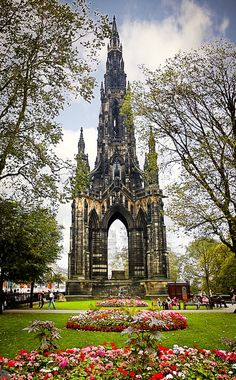 Princes Street Gardens, Edinburgh, with the Scott Monument, the largest monument to a writer in the world.