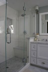 completely glass for small master bath, shower bench, half wall, shampoo insert