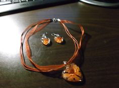 Glass Heart and Ear Ring Set