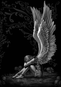 $4.67 - Gothic Angel Wings-Quality Canvas Art Print-Poster 6X8 Painting Original Drawing #ebay #Home & Garden