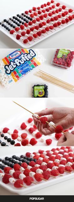 Flag cakes are gorgeous, but they can be time-consuming and can require some serious baking/decorating skills. If you want to be patriotic without turning on the oven, consider these easy berry-marshmallow flag fruit skewers. The ingredient list as well a Fourth Of July Food, 4th Of July Party, July 4th, 4th If July Desserts, Patriotic Desserts, Holiday Treats, Holiday Recipes, Memorial Day Foods, Fruit Skewers