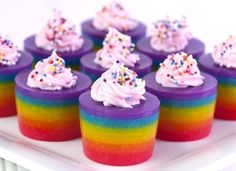 rainbow colored, cake flavored jello shots