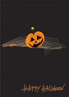 """Grußkarte: """"Happy Halloween"""" Glückwunsch Klappkarte mit Kürbis und Stern"""