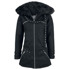 Warm jacket with stud applications, loads of pockets on the front and lacing on the back. With lining made of 100% polyester.