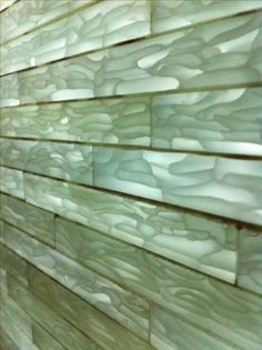Glass bricks made from recycled glass chips produced in the manufacture of… Glass Blocks Wall, Block Wall, Ceramic Mosaic Tile, Glass Ceramic, Wall Design, House Design, Eco Buildings, Glass Brick, Glass Floor