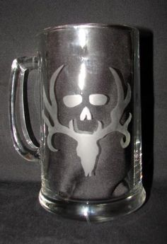 $13 Bone Collector Buck Rack Zombie Deer Hand Etched on Beer Mug or Drinking Glass at www.nanajofnine.com
