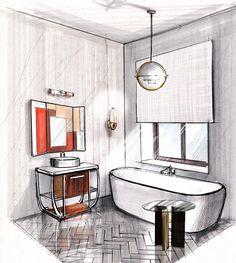Ещё одна ванная вам  ✍️ Обратите внимание как объёмно выглядит плитка на полу, за счёт яркого контраста чёрных и белых штрихов линерами.