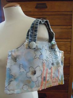 Small Women's Handbag or Purse, Handmade Hand Painted Blue Floral with Denim Handles