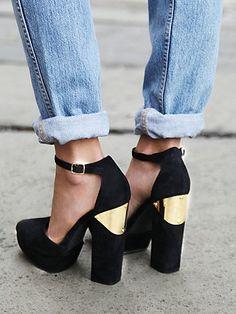 suede platform heel w/ gold plate