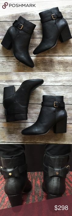 """NWT Kate Spade Leather Booties NWT Kate Spade Leather Booties. Loop and buckle closure. Finished with a Kate spade now on then back. 3"""" heel. Comes with box kate spade Shoes Ankle Boots & Booties"""
