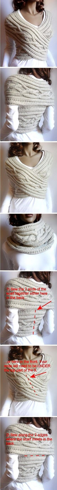 """Bien au chaud... [   """"cabled vest/cowl - *Inspiration* this one is knit but you could easily crochet this so pull out your favorite scarf pattern and get to crocheting. You may need to adjust the width of the scarf. Once your scarf is long enough, wrap it around yourse."""",   """"cabled vest/cowl inspiration Great way to use an old scarf. Wrap it around yourself and tack the ends to each other then tack the 2 back edges to each other, take it off and sew where you tacked using matching yarn.""""…"""