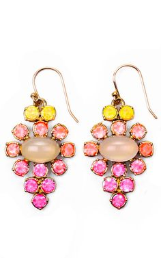Hand-Painted Empress Earring In Yellow And Pink by Lulu Frost