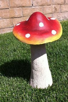 Measures 17 Tall Mushroom Cap Is 10 In Diameter Made Of Resin And Fibergl Gorgeous Decoration For Indoor Or Outdoor