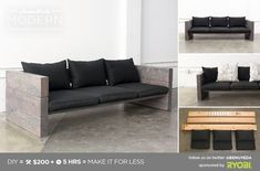 For next summer: HomeMade Modern DIY Outdoor Sofa Postcard Modern Outdoor Sofas, Modern Couch, Diy Outdoor Furniture, Pallet Furniture, Furniture Plans, Modern Furniture, Home Furniture, Furniture Design, Furniture Stores