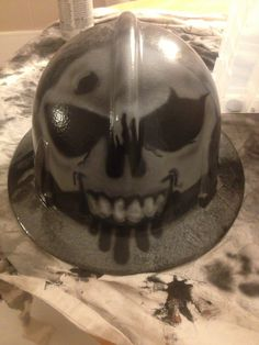 Front of the airbrushed hard hat that I did for Korey. Also first helmet/ rounded object I've airbrushed or painted in general.