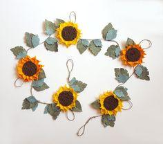 Felt flower garland  sunflower decor felt flower vine by mellsva