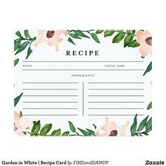 Garden in White   Recipe Card