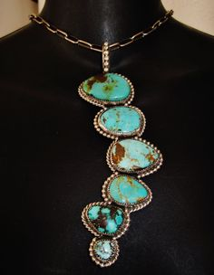 NAVAJO LONG TURQUOISE PENDANT, 71gr CHAVEZ - HAND MADE Sterling Silver NECKLACE