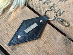 """Real leather keychain """"YVI"""" small gift idea for Christmas Shops, Leather Keychain, Rind, Small Gifts, Real Leather, Handmade Items, Personalized Items, Pendant, Key Chain"""