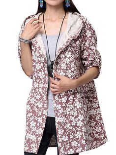 495438a5dae5f Sale 30% (24.69 ) - Casual Folk Style Women Floral Printed Hooded Jacket.  Cheap Plus Size ...