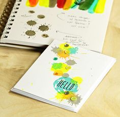 Sideoats+ Scibbles-hello-splatsb- I love how she shows her process and the finished card, interesting color combo