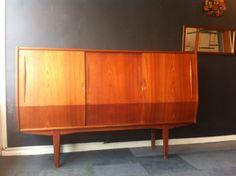 1960s Handmade Danish tallboy sideboard storage unit available at www.modernebrighton.com