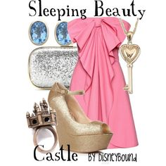 Sleeping Beauty Castle: amazing pink bow dress, sparkle accessories