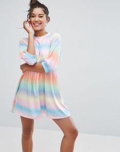 Buy ASOS Smock Dress with Elastic Cuff Detail in Tie Dye Stripe at ASOS. With free delivery and return options (Ts&Cs apply), online shopping has never been so easy. Get the latest trends with ASOS now. Asos, Tie And Dye, Tie Dye, Casual Day Dresses, Going Out Dresses, Smock Dress, Latest Dress, Latest Fashion Clothes, Fashion Online
