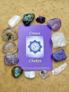 Crown Chakra Crystals (Listed clockwise starting with the upper right hand corner): Amethyst, Apophyllite, Charoite, Danburite, Herkimer Diamond, Howlite, Labradorite, Lepidolite, Clear Quartz, Rutilated Quartz, Selenite, Seraphinite, Sugilite. This is by