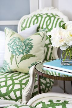 green trellis chairs: perfect pair with pretty flowered pillow