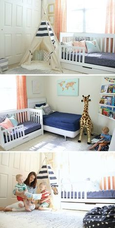 Do your toddlers share a bedroom? These shared bedroom decor ideas will make your little ones excited to share a room with their sibling. The key to creating a fun and functional kids' room for two siblings is to give them each their own space and provide plenty of ways for them to learn and grow together, like a teepee reading nook!