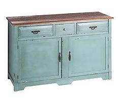 Mueble auxiliar en madera de abeto – azul y marrón