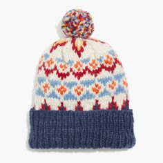 Spearheaded by design wizard Yuki Matsuda of the Meg Company collective, Chamula specializes in goods crafted by Mexican artisans. This chunky pom-pom beanie adapts a traditional Fair Isle design that's all the more appealing for it's handknit texture.  <ul><li>Merino wool.</li><li>Dry clean.</li><li>Import.</li></ul>