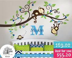 SALE - Boy Jungle Monkey Wall Decal with name, initial and one owl for nursery decor.Monkeys Tree branch wall decal - Wall's Tale Wall Decals - Turkey