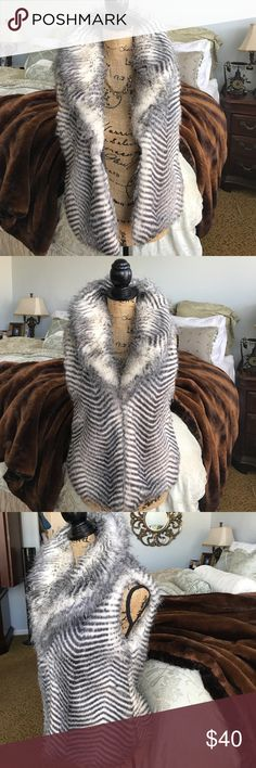 """Jack BB Dakota Janika Vest Faux fur vest in raven (black/gray/charcoal) with hook enclosures down the front. High collar and sits jus below the waist (I'm 5'4"""") Jack by BB Dakota Jackets & Coats Vests"""