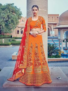 Designer Orange crystle work embroidered wedding lengha choli
