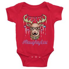 Naughty List Christmas Infant short sleeve one-piece