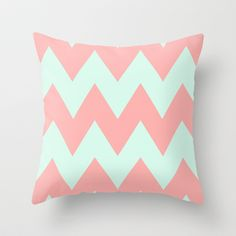 big chevron coral u0026 mint throw pillow