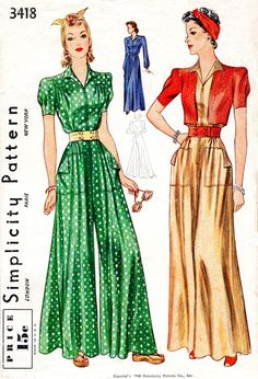 1930s 1940s Simplicity 3418 vintage sewing pattern palazzo pants wide leg trousers loungewear PICK YOUR SIZE reproduction
