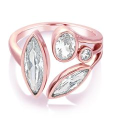 Theresa Multi Stone Ring - Clear/Rose Gold