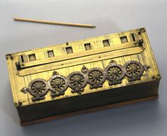 Pascal's calculating machine, 1642. Replica, made by E Rognon in 1926. Blaise Pascal (1623-1662), was France's most celebrated mathematician and physicist. This calculator is an exact replica of an original calculating machine preserved in the Conservatoire des Arts et Metiers at Paris. It was completed by Pascal when he was only 19 to aid his father in his business. Designed for addition and subtraction, it used a stylus to move the number wheels. sciencemuseum.org.uk