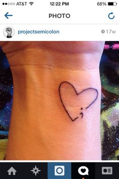 The semicolon project ♥ *got this done on my wrist in September Changed .The semicolon project ♥ *got this done on my wrist in September Changed it up a little though! Future Tattoos, Love Tattoos, Beautiful Tattoos, New Tattoos, Small Tattoos, Tatoos, Cross Tattoos, Heart Tattoos, Tatoo Symbol