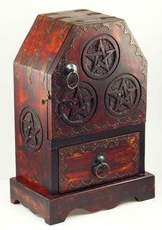 This chest and cupboard piece is a beautiful addition to any altar, providing much needed storage sp
