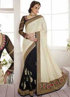 Beautiful Beige With Black Women's Fashion Designer  Saree http://www.angelnx.com/Sarees/Designer-Sarees