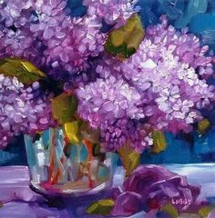 """Daily Paintworks - """"Love of Lilacs"""" - Original Fine Art for Sale - © Libby Anderson Abstract Flowers, Watercolor Flowers, Watercolor Paintings, Painting Flowers, Jar Art, Beautiful Flowers Wallpapers, Floral Artwork, Arte Floral, Flower Wallpaper"""