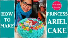 how to decorate a Princess Ariel theme whipped cream cake design ideas for beginners Happy Birthday Princess Cake, Easy Princess Cake, Princess Torte, Happy Birthday Dear Sister, Princess Theme Cake, 1st Birthday Cake For Girls, Baby Birthday Cakes, Homemade Birthday Cakes, Cake Designs For Girl