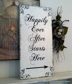 HAPPILY EVER AFTER Starts Here with arrow Shabby Cottage Vintage Elegance Wedding Signs 24 x 12 on Etsy, $56.95