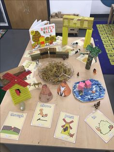 Rosie's walk prepositional language activity. I made the artefacts from boxes and painted them.
